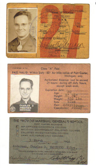 Image for 3 Military ID Cards: Military Police Replacement Center, Provost Marshal Gen.'s School Ft. Custer MI 1944, & Class A Pass Ft Custer MI HQ 1661 Service Unit.