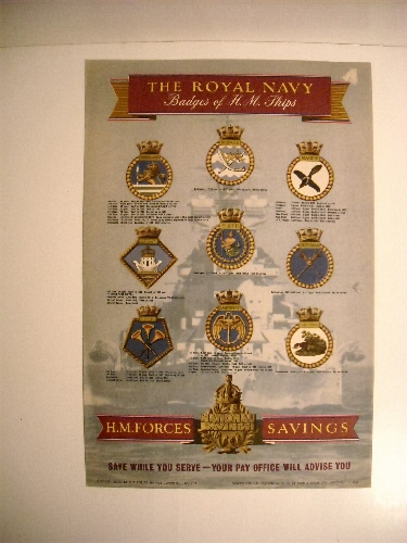 Image for Royal Navy: Badges of H.M. Ships. Vanguard, Nepal, Magpie, Ark Royal, St. Kitts, Statesman, Illustrious, Amethyst, Tally Ho. (Recruiting Poster)
