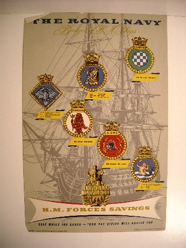 Image for Royal Navy: Badges of H.M. Ships. Chequers, Implacable, Eagle, Bermuda, Aisne, Mermaid. (Recruiting Poster)