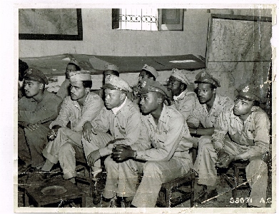 Image for 332d Fighter Group Pilots Being Briefed Before a Combat Mission.